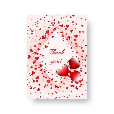 Leaflet pattern with falling red hearts for Valentine's day design. Vector illustration