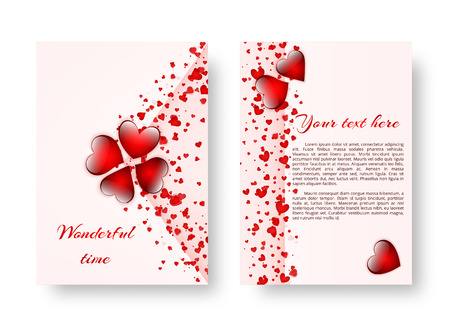 Template of a wedding card with bright scarlet hearts for a romantic design. Vector illustration Иллюстрация