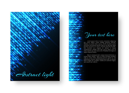 Rectangular design of the cover of the catalog with bright stripes of blue light for festive decoration
