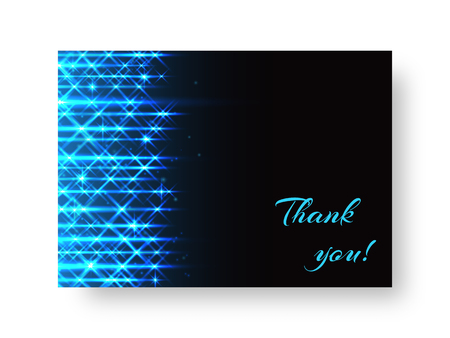 Festive Birthday greeting card design with bright blue neon rays