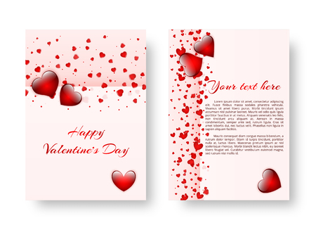 Vivid postcard design happy Valentines day with red falling hearts. Vector illustration