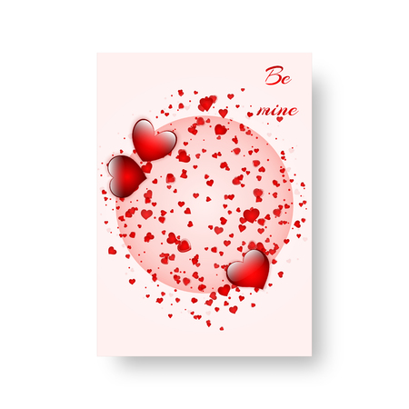Template background for Valentine's day with bright flying hearts. Vector illustration