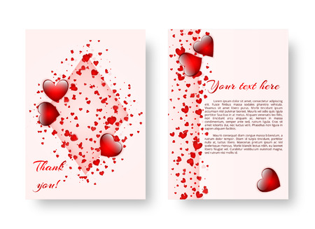 Wedding background with red confetti in the shape of hearts for decoration of romantic congratulations. Vector illustration