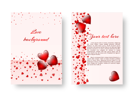 Invitation card template with soaring red hearts for romantic decoration for Valentines day, mothers day or birthday. Vector illustration