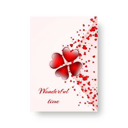 Background of a brochure with hearts for a romantic design for St. Valentine's Day, Mother's Day or birthday. Vector illustration Banque d'images - 95069562