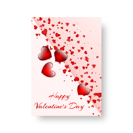 Cover catalog with soaring red scarlet hearts for St. Valentine's Day. Vector illustration