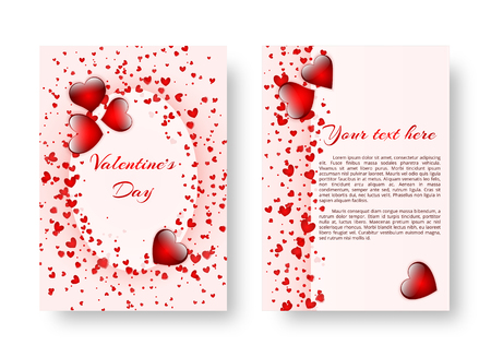 Template of wedding invitation with bright scarlet hearts for romantic design. Vector illustration Illustration