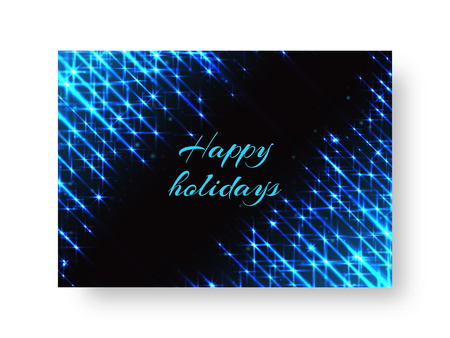 Celebratory background for greeting card with flaming lights of neon light
