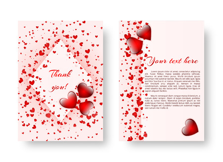 Abstract background for a greeting card with scarlet hearts for the design of greetings on the day of the holy valentine, mothers day or birthday. Vector illustration