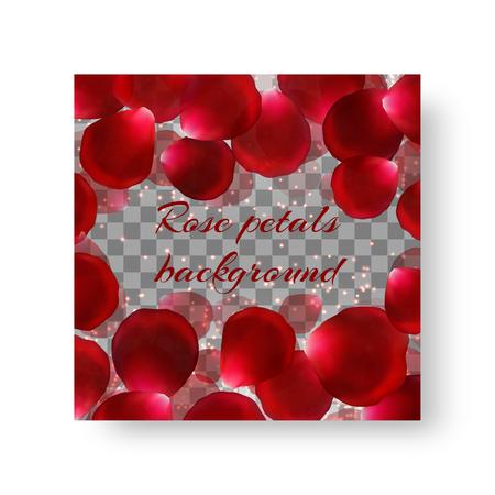 Wedding invitation template with exquisite rose petals for summer design