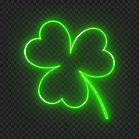 A clover leaf on a dark background with a neon light effect for a festive decoration for St. Patricks day.