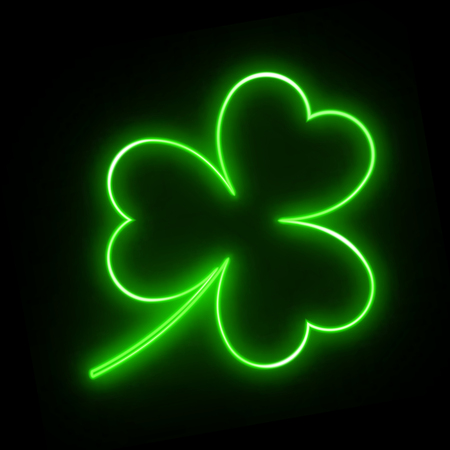 Neon green leaf clover on a black background for design on St. Patricks day. Glittering vector illustration with the symbol of the Irish holiday Illustration