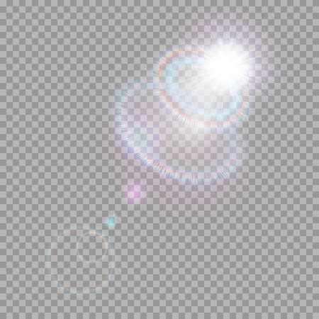 Bright light effect with multi-colored highlights. Iridescent flare from the lens on a transparent background.  イラスト・ベクター素材