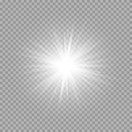 A bright explosion of a star on a transparent background. Vector illustration with light effect Vettoriali