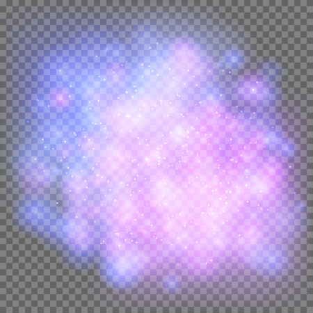 Outer space galaxy on a transparent background. Bright blue and violet flashes in the Universe. Vector illustration with starry sky light effect