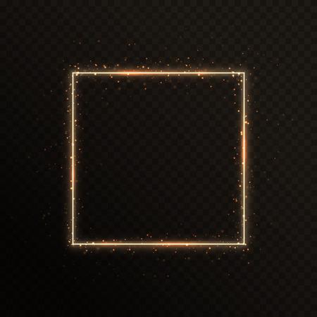 Marco dorado brillante con destellos para los saludos de Año Nuevo. Ilustración de vector con bordes ardientes Foto de archivo - 97384176