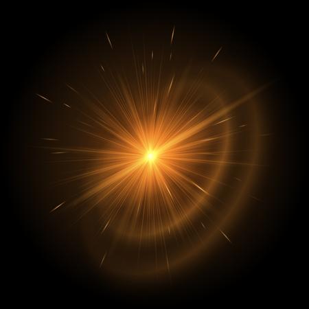 Explosion of a golden star on a black background. Vector illustration with bright hot rays