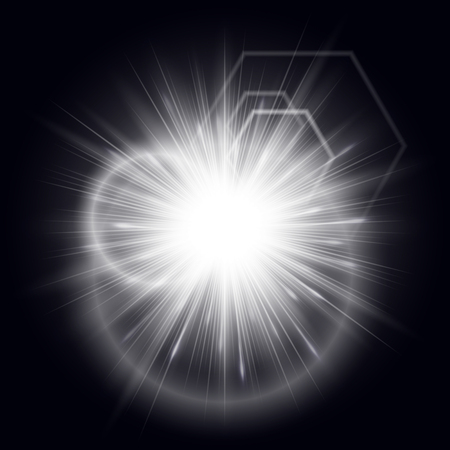 Explosion of a star with shiny particles and bright rays on a black background