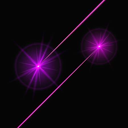 Purple laser beams shine on a black background. Bright vector light effect with pink lines Çizim