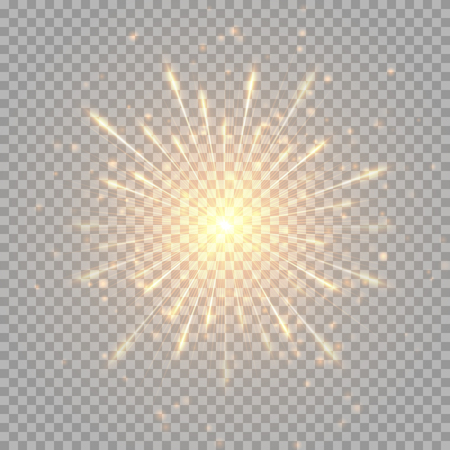 A flash of golden fireworks on a transparent background.