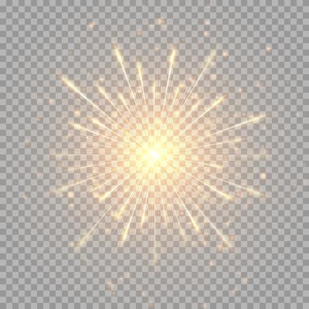 Błysk złotych fajerwerków na przezroczystym tle. Ilustracje wektorowe