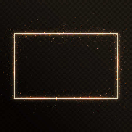 A shiny gold frame with sparkling sparks on a translucent background.