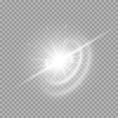 Magic light effect with silver rays on a transparent background