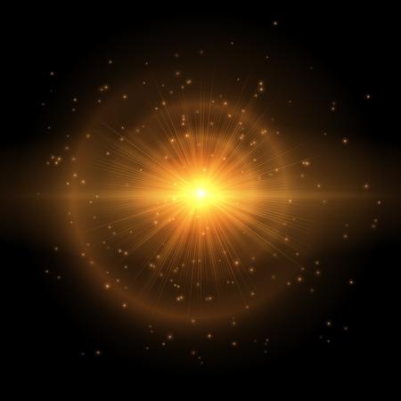 黒い背景にカラフルな星のゴールドフラッシュ。明るい光の効果を持つベクトルのイラスト  イラスト・ベクター素材