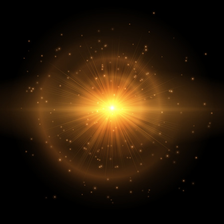 Gold flash of a colorful star on a black background. Vector illustration with bright light effect