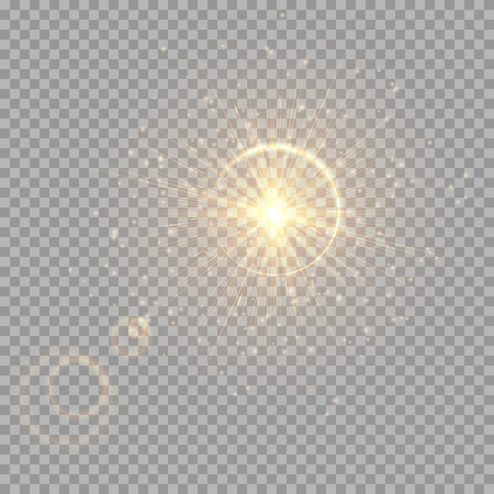 Colorful golden flash on a transparent background for Christmas decoration. Vector illustration with light effect Illustration