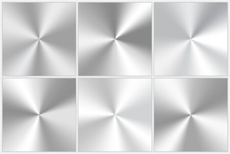 Set of vector conic gradients in silver color