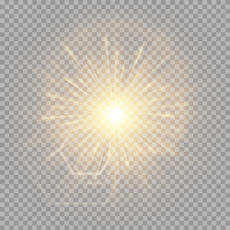 A bright golden flash of light on a transparent background for New Year greetings. Vector illustration with glare