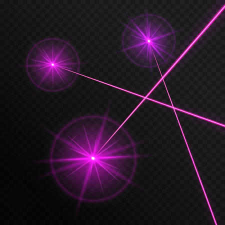 Vector illustration with three bright laser rays on a transparent background