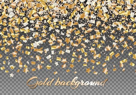 Festive background with shiny confetti stars. Christmas backdrop with floating golden particles. Bright vector illustration Illustration