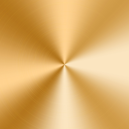 Conical gradient with a texture of gold metal. Vector illustration with effect of polished plate Çizim
