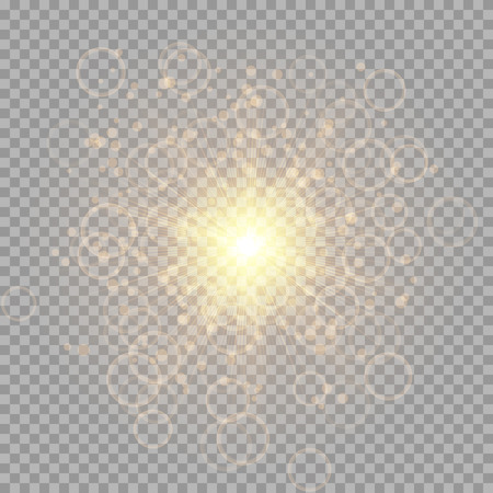 A shiny gold star with flying particles on a transparent background. Festive vector illustration