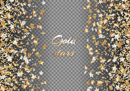 A brilliant festive background with bright particles in the shape of stars and falling confetti. Christmas vector illustration