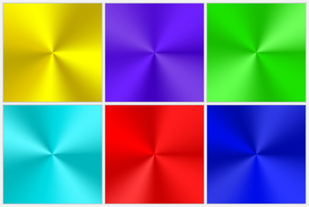 A set of colorful conical gradients of different colors for the design of buttons, frames, banners. Bright vector illustration