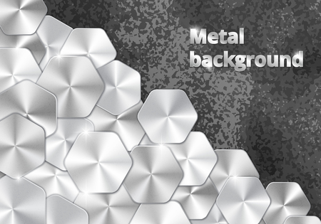 Brilliant background with metal platinum plates on a grungy backdrop. Vector illustration with silver elements