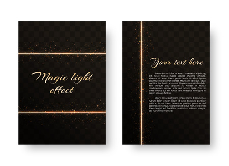 Christmas card with shiny gold neon stripes and bright sparkles. Vector illustration on a transparent background