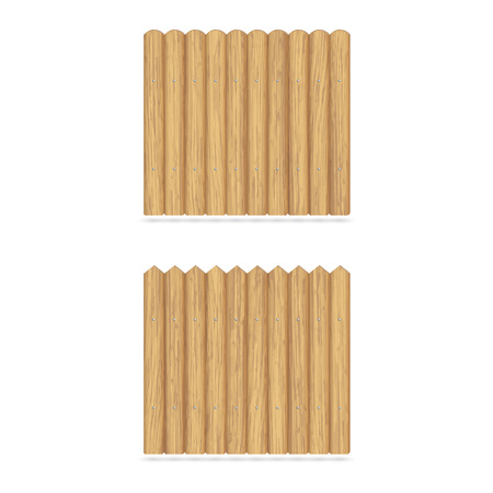Wooden garden fence made of boards, fastened with metal nails. Vector illustration with shadow
