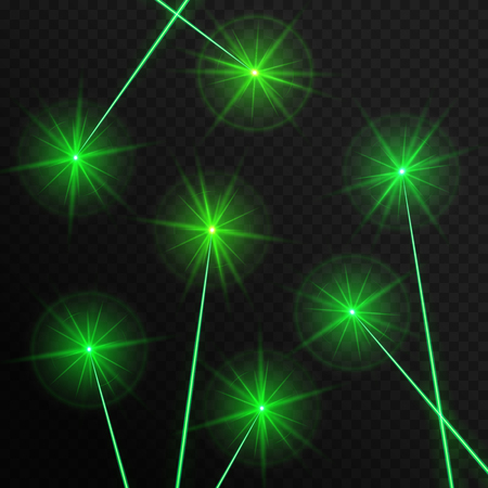 Green laser rays on a transparent background