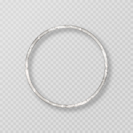 Frame of silver metal with a grunge texture on a transparent backdrop. Vector illustration for festive decoration
