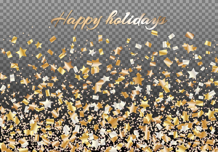 Bright festive New Year background with clashing golden stars of confetti Illustration