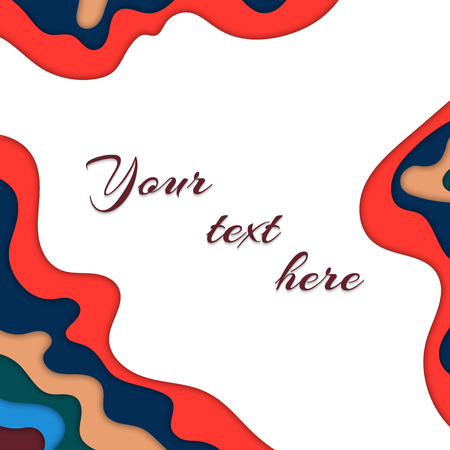 Colorful background with cut paper effect. Vector illustration with place for text
