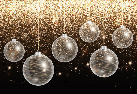 Shiny Christmas illustration with balls and bright backdrop
