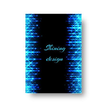 Rectangular Birthday greeting card design with bright blue neon rays
