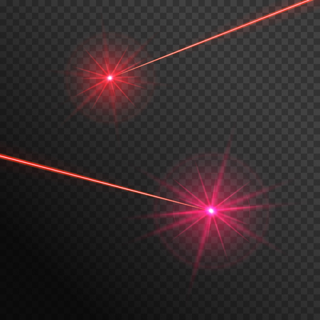 Bright red laser rays on a transparent background