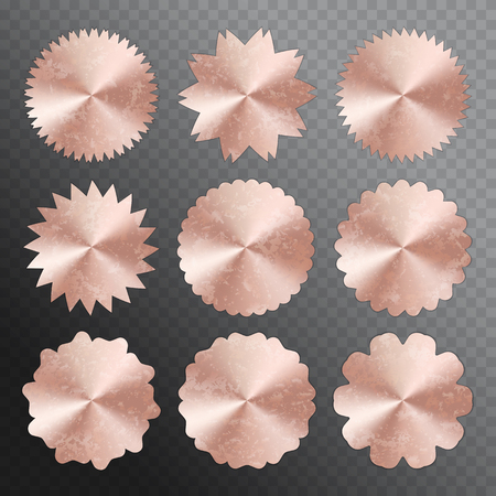 A set of round stickers with a conical gradient. Vector illustration with a pink gold texture Çizim
