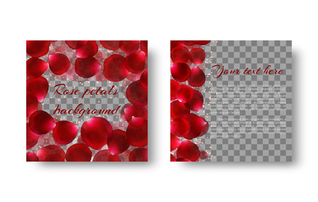 Romantic background with sparkles and red petals falling on a transparent backdrop.